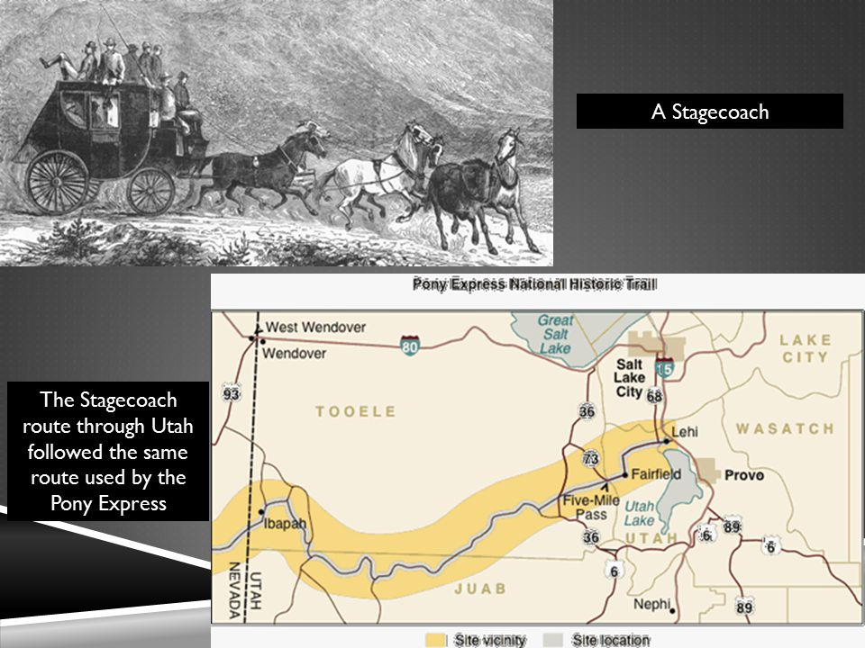 A Stagecoach The Stagecoach route through Utah followed the same route used by the Pony Express
