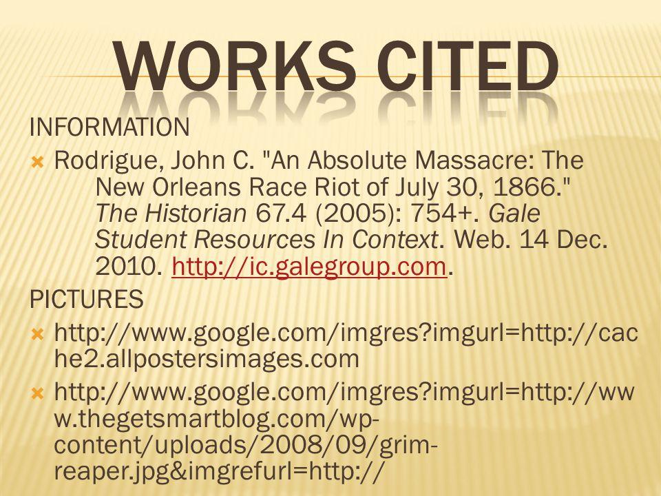 INFORMATION  Rodrigue, John C.