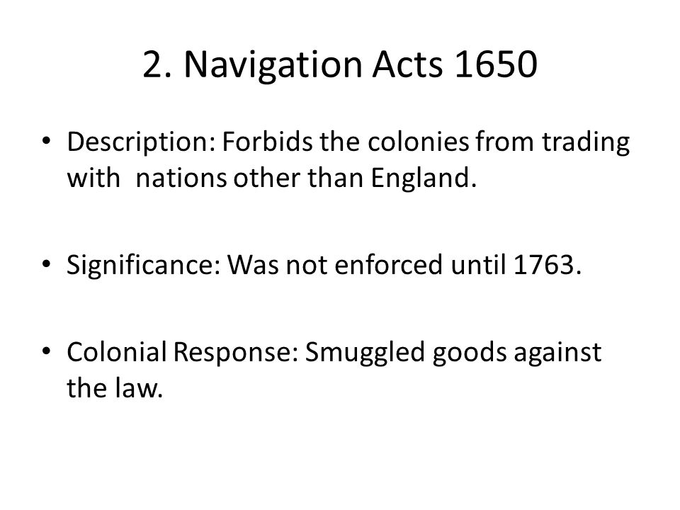 Exports & Imports: 1768-1783 The Intolerable Act closed the port of Boston from Colonial trade and placed Massachusetts under martial law.