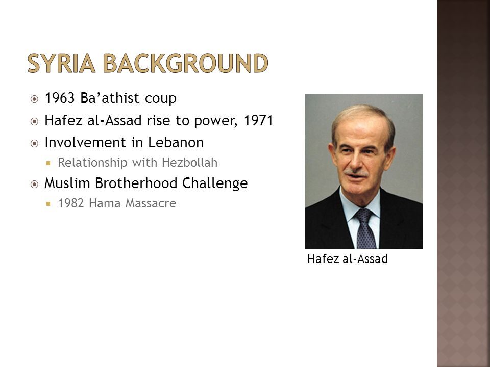  1963 Ba'athist coup  Hafez al-Assad rise to power, 1971  Involvement in Lebanon  Relationship with Hezbollah  Muslim Brotherhood Challenge  1982 Hama Massacre Hafez al-Assad