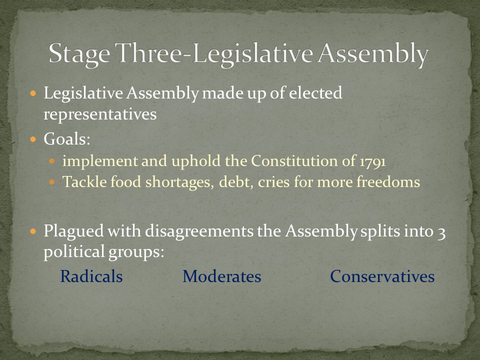 Legislative Assembly made up of elected representatives Goals: implement and uphold the Constitution of 1791 Tackle food shortages, debt, cries for more freedoms Plagued with disagreements the Assembly splits into 3 political groups: Radicals Moderates Conservatives