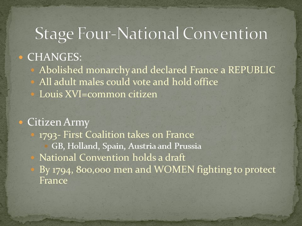 CHANGES: Abolished monarchy and declared France a REPUBLIC All adult males could vote and hold office Louis XVI=common citizen Citizen Army 1793- First Coalition takes on France GB, Holland, Spain, Austria and Prussia National Convention holds a draft By 1794, 800,000 men and WOMEN fighting to protect France