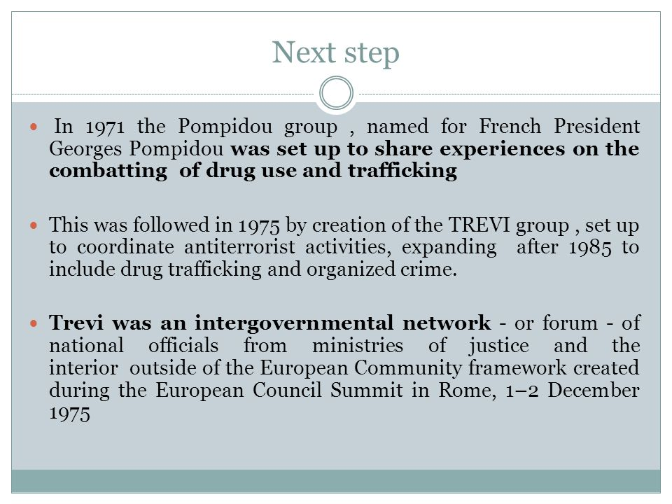 Next step In 1971 the Pompidou group, named for French President Georges Pompidou was set up to share experiences on the combatting of drug use and tr