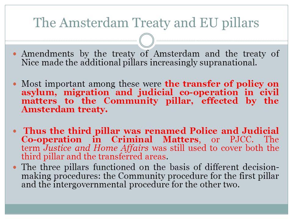 The Amsterdam Treaty and EU pillars Amendments by the treaty of Amsterdam and the treaty of Nice made the additional pillars increasingly supranationa