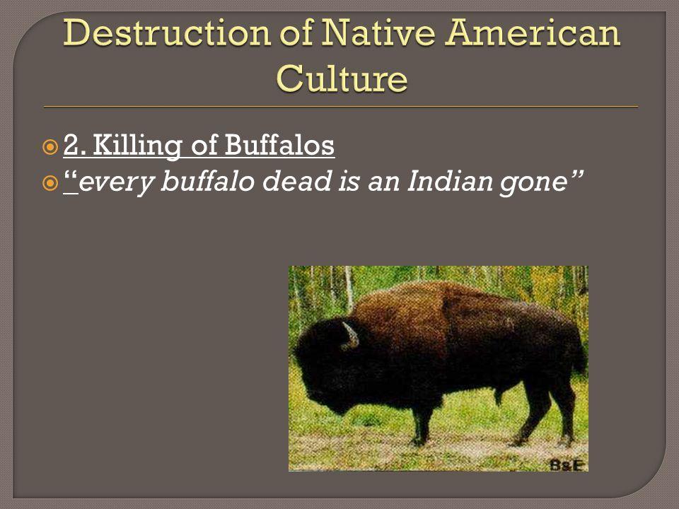  2. Killing of Buffalos  every buffalo dead is an Indian gone
