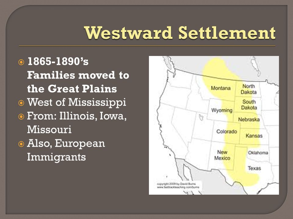  1865-1890's Families moved to the Great Plains  West of Mississippi  From: Illinois, Iowa, Missouri  Also, European Immigrants