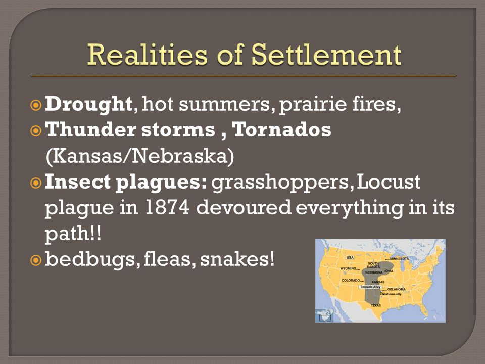 Drought, hot summers, prairie fires,  Thunder storms, Tornados (Kansas/Nebraska)  Insect plagues: grasshoppers, Locust plague in 1874 devoured everything in its path!.