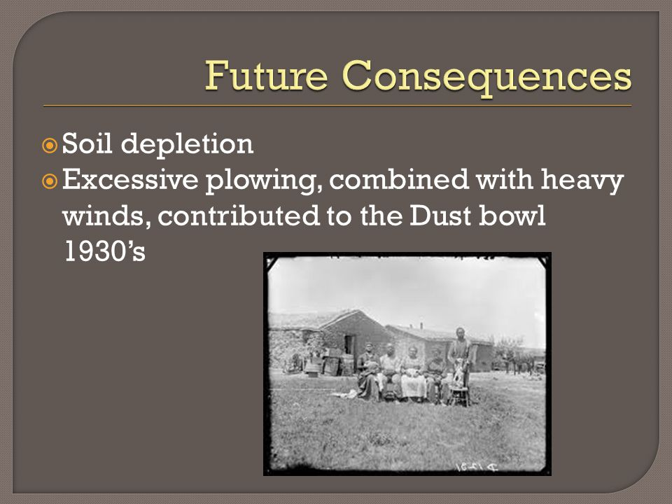  Soil depletion  Excessive plowing, combined with heavy winds, contributed to the Dust bowl 1930's