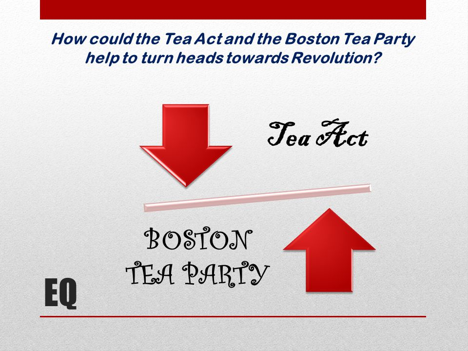 EQ How could the Tea Act and the Boston Tea Party help to turn heads towards Revolution? Tea Act BOSTON TEA PARTY