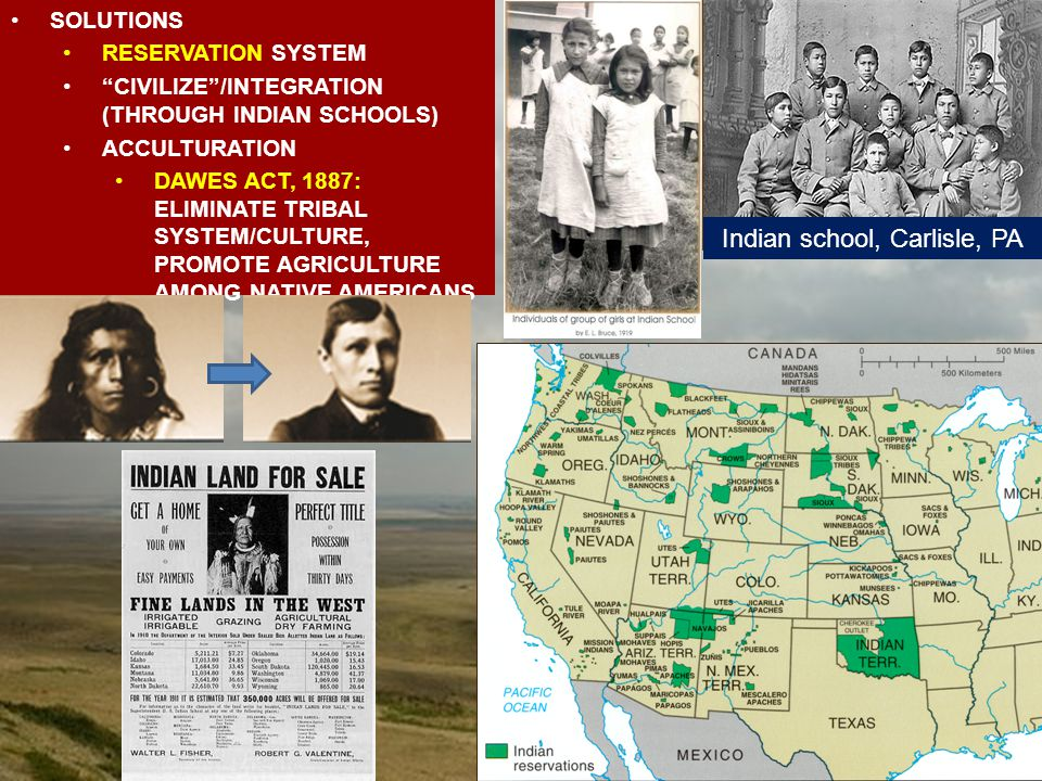 RESERVATIONS Indian school, Carlisle, PA SOLUTIONS RESERVATION SYSTEM CIVILIZE /INTEGRATION (THROUGH INDIAN SCHOOLS) ACCULTURATION DAWES ACT, 1887: ELIMINATE TRIBAL SYSTEM/CULTURE, PROMOTE AGRICULTURE AMONG NATIVE AMERICANS