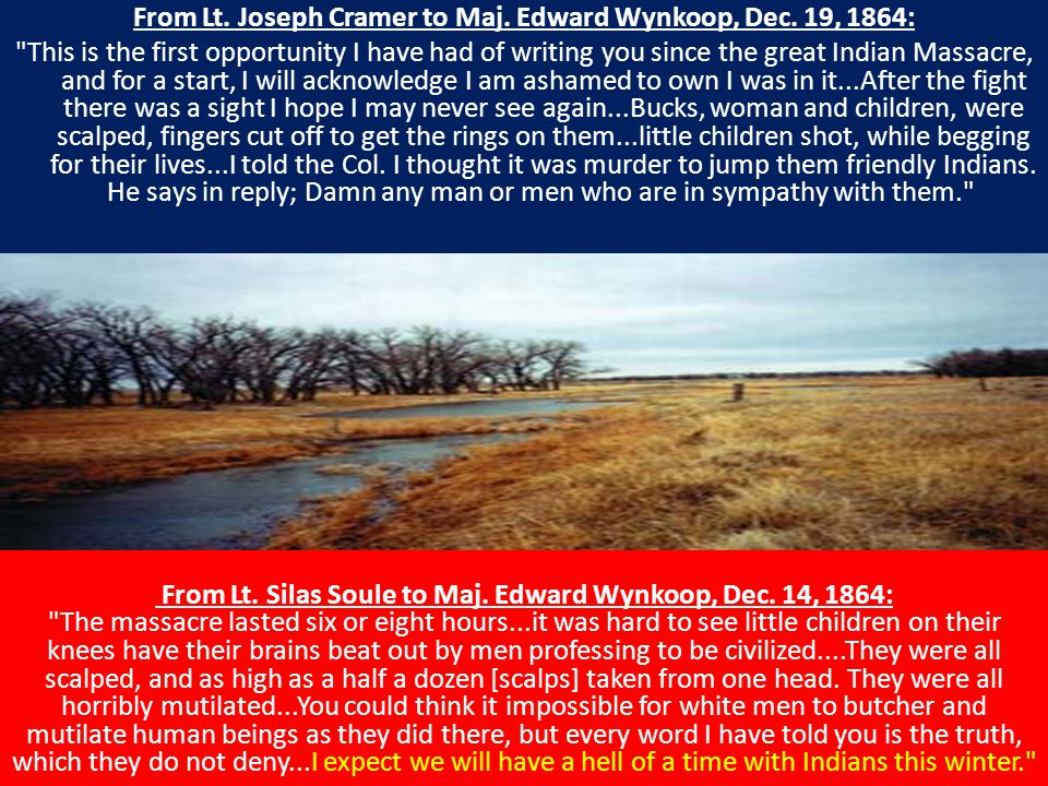 From Lt. Joseph Cramer to Maj. Edward Wynkoop, Dec.