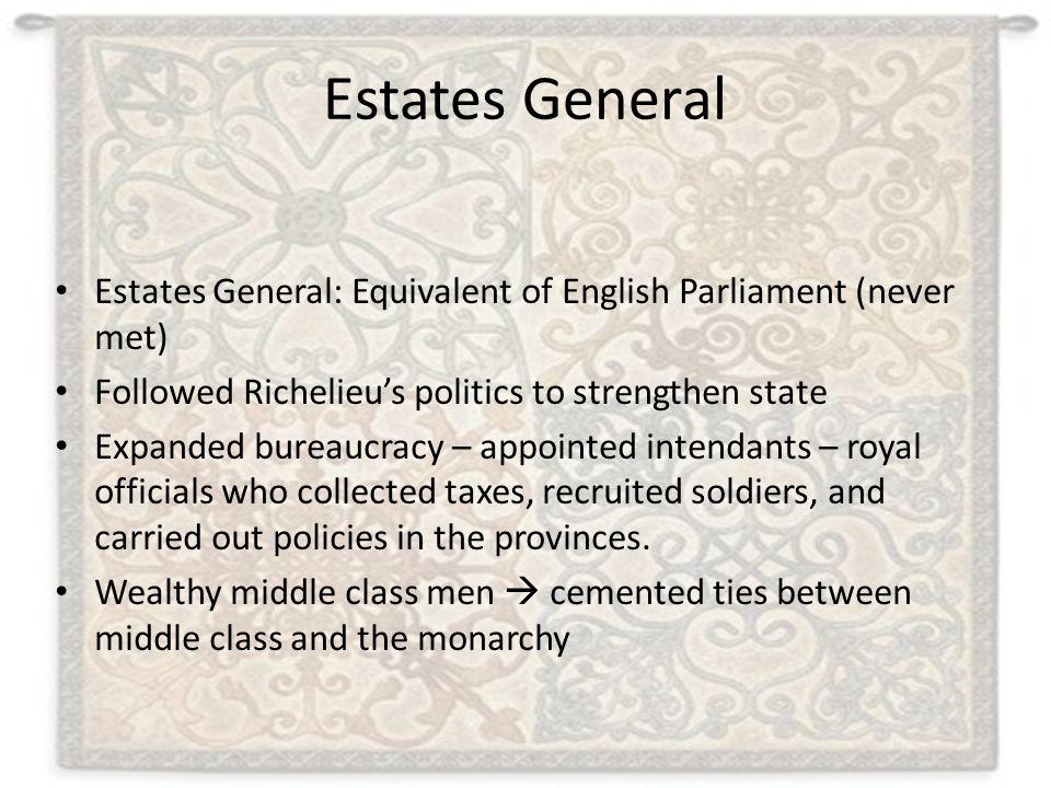 Estates General Estates General: Equivalent of English Parliament (never met) Followed Richelieu's politics to strengthen state Expanded bureaucracy –