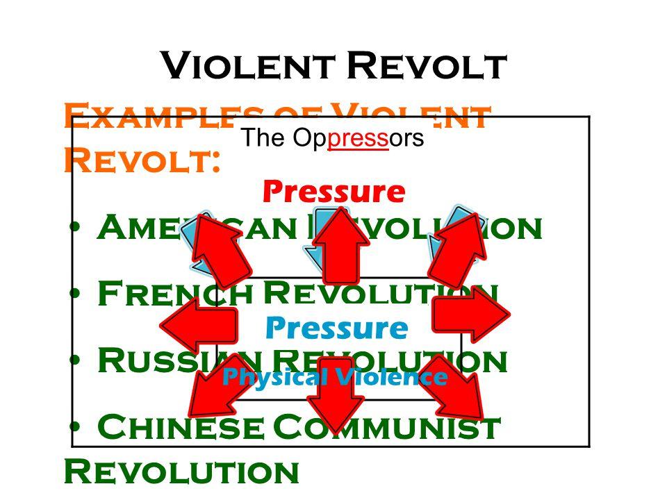 Examples of Violent Revolt: American Revolution French Revolution Russian Revolution Chinese Communist Revolution The Oppressors Violent Revolt The Op