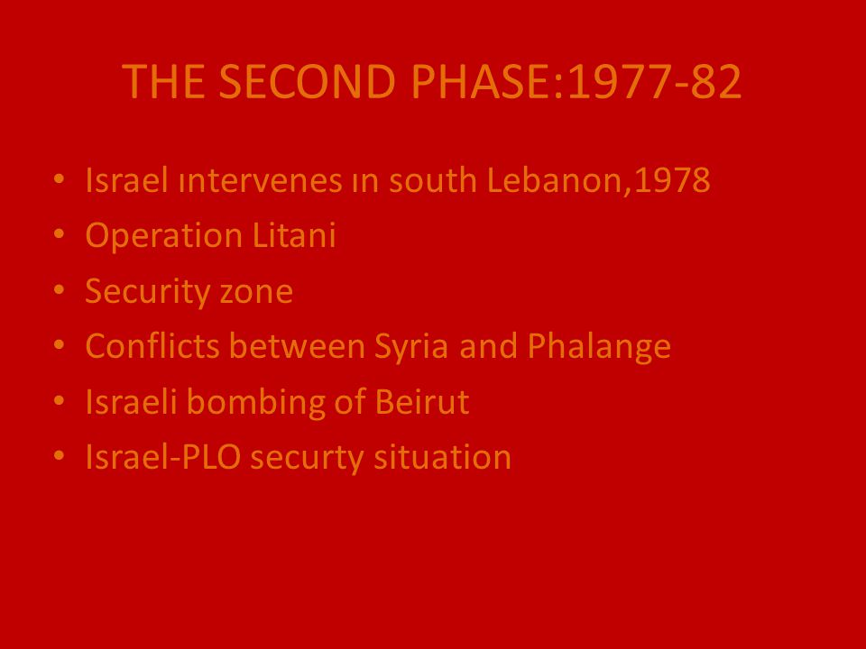 THE SECOND PHASE:1977-82 Israel ıntervenes ın south Lebanon,1978 Operation Litani Security zone Conflicts between Syria and Phalange Israeli bombing o