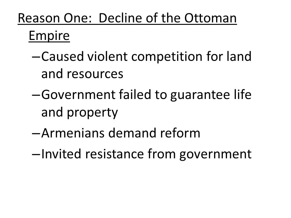 The 8 Steps of the Armenian Genocide (Cont.) Extermination Armenian political and intellectual leaders were gathered and killed on April 24 th, 1915 On that day, 5,000 of the poorest Armenians were butchered in the streets Denial The Turkish Government denies that there was a genocide of the Armenians They claim that the Armenians were removed from the Eastern war zone