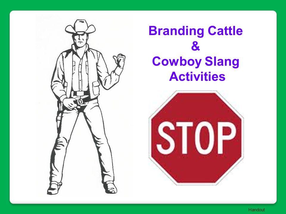 Branding Cattle & Cowboy Slang Activities Handout
