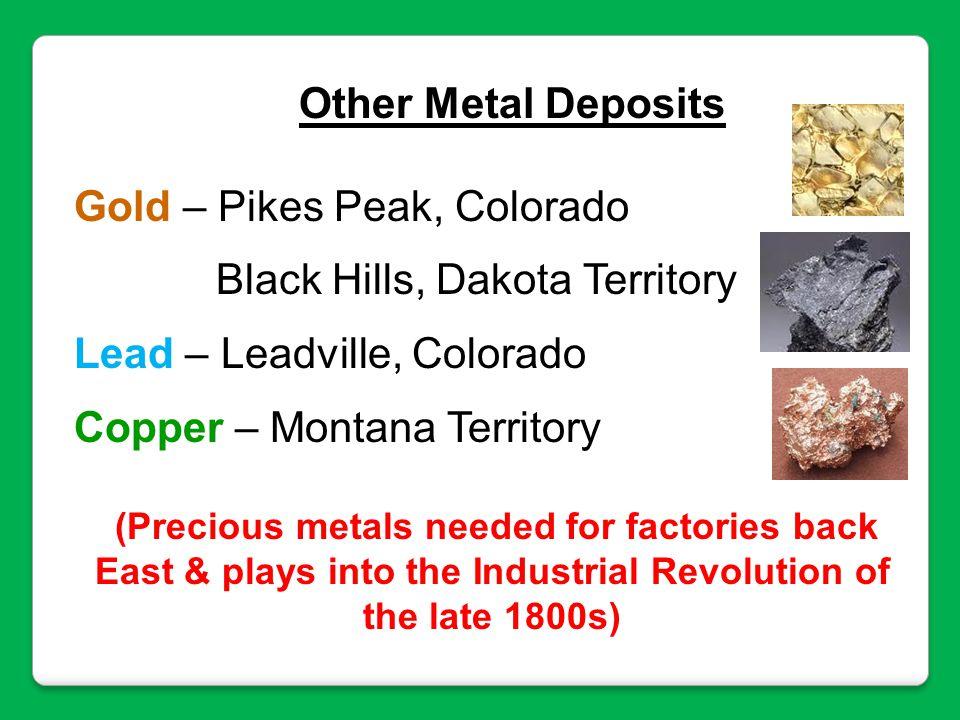 Other Metal Deposits Gold – Pikes Peak, Colorado Black Hills, Dakota Territory Lead – Leadville, Colorado Copper – Montana Territory (Precious metals