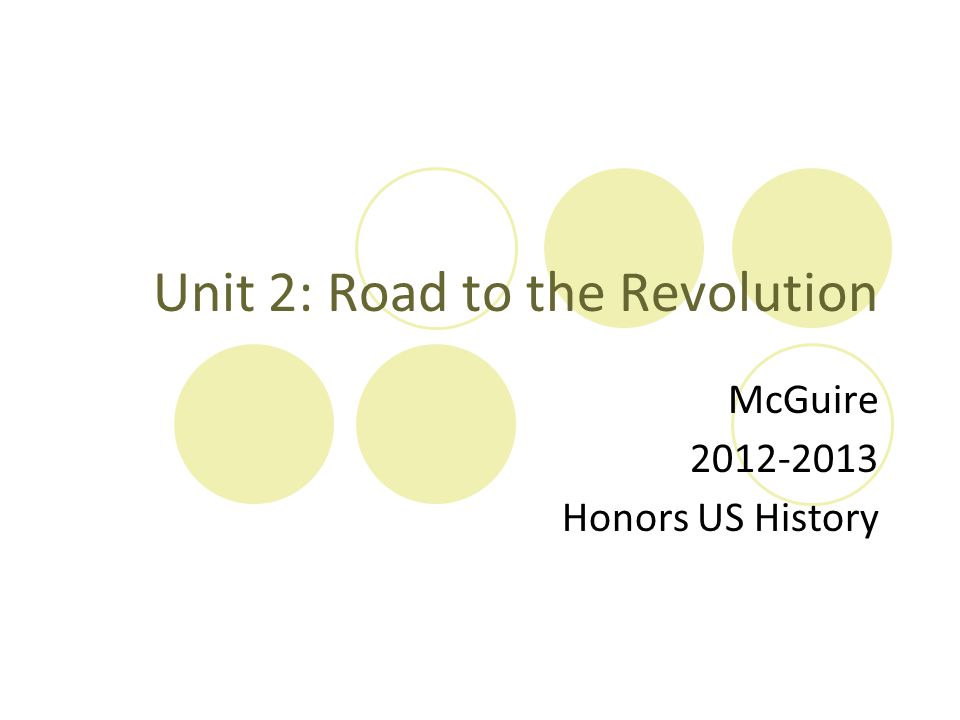 Unit 2: Road to the Revolution McGuire 2012-2013 Honors US History