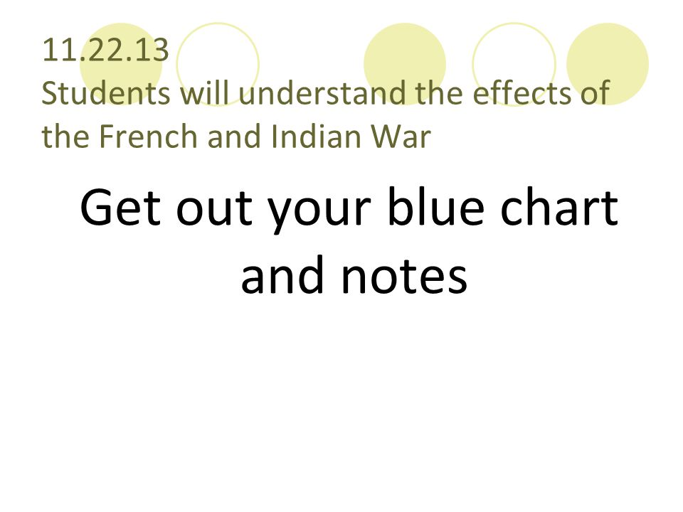 11.22.13 Students will understand the effects of the French and Indian War Get out your blue chart and notes