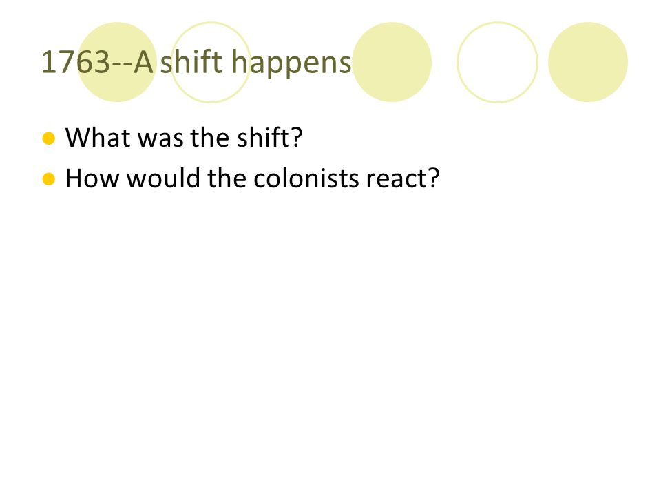 1763--A shift happens ●What was the shift? ●How would the colonists react?