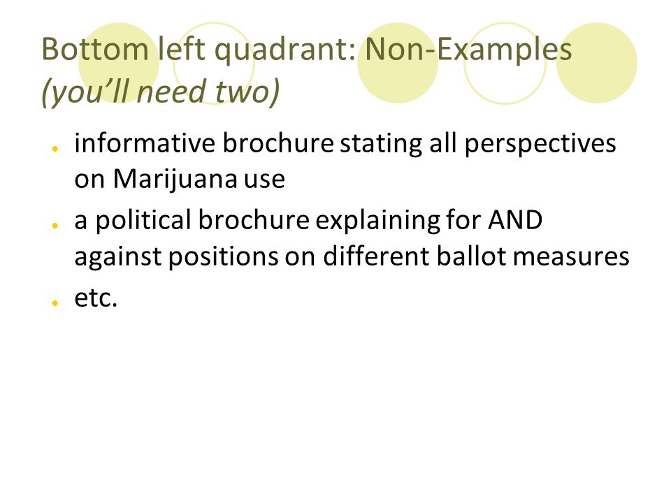 Bottom left quadrant: Non-Examples (you'll need two) ● informative brochure stating all perspectives on Marijuana use ● a political brochure explainin