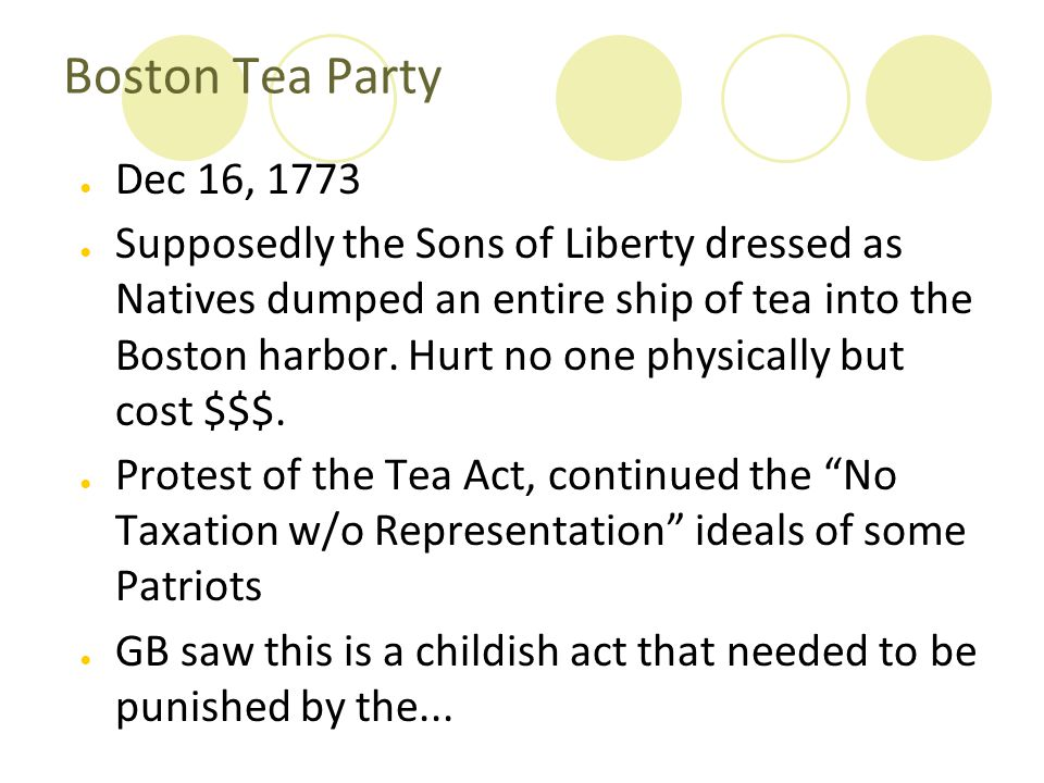 essays on the boston tea party The boston tea party essay sample the boston tea party was just one of the many attempts made by the american colonies to show their opposition to the british parliament who is exercising much political and economic power over the americans.