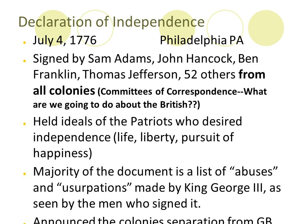 Declaration of Independence ● July 4, 1776 Philadelphia PA ● Signed by Sam Adams, John Hancock, Ben Franklin, Thomas Jefferson, 52 others from all col