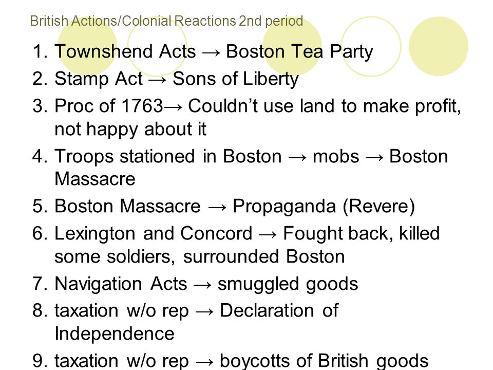 British Actions/Colonial Reactions 2nd period 1.Townshend Acts → Boston Tea Party 2.Stamp Act → Sons of Liberty 3.Proc of 1763→ Couldn't use land to m