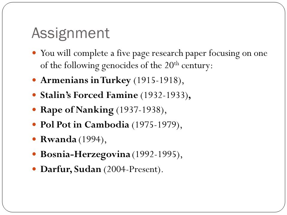 genocide term papers Get instant access to this essay paper and 15,000 term papers, essays, and book reports for only $1299 if you wish to view the free essay of genocide in africa, you must donate an original essay to our web site so that we can grow our collection of free essays, book reports and term papers.