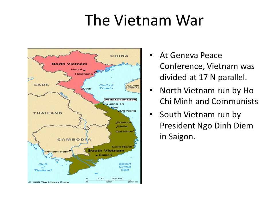The Vietnam War At Geneva Peace Conference, Vietnam was divided at 17 N parallel.