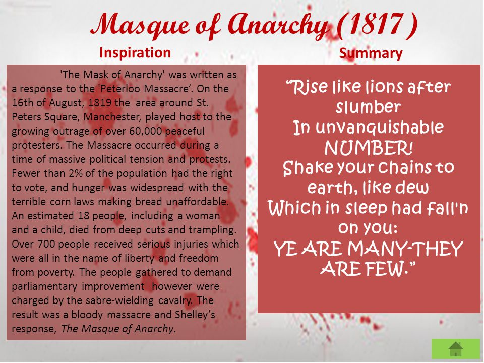 Masque of Anarchy (1817) Inspiration Summary The speaker is sleeping in Italy when he is awoken by a voice from England.