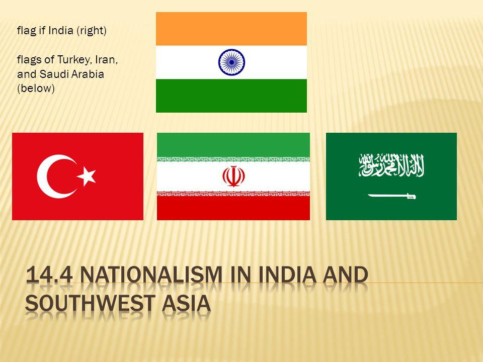 flag if India (right) flags of Turkey, Iran, and Saudi Arabia (below)