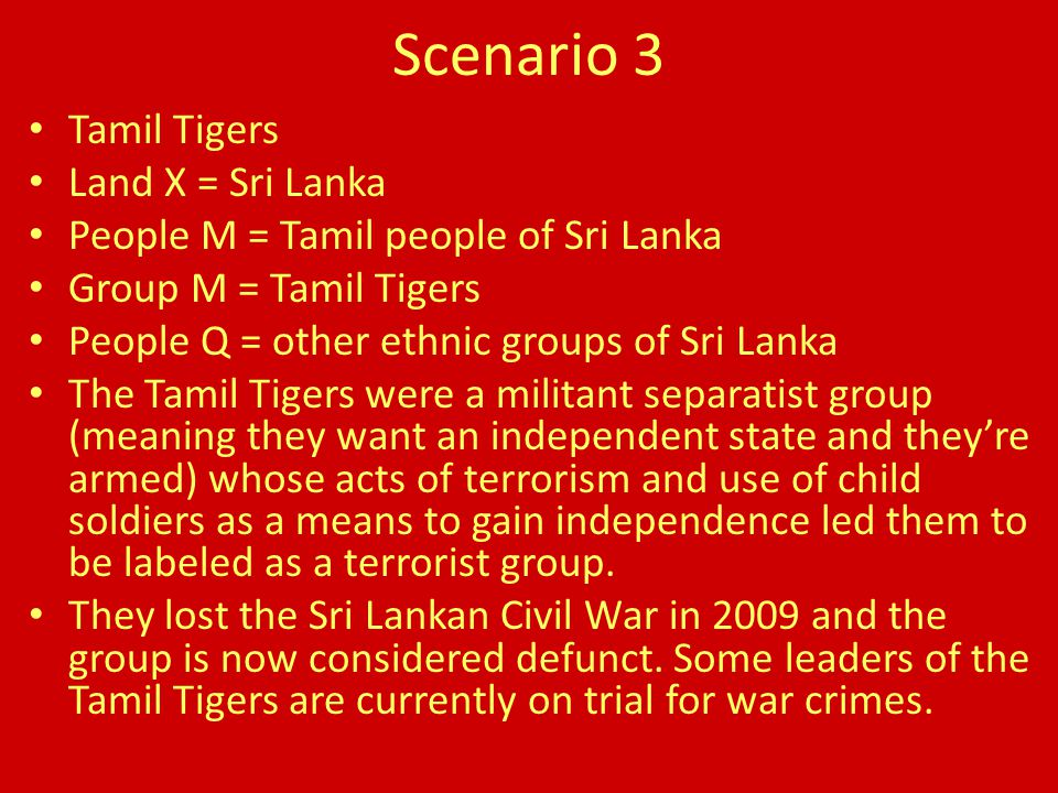 Scenario 3 Tamil Tigers Land X = Sri Lanka People M = Tamil people of Sri Lanka Group M = Tamil Tigers People Q = other ethnic groups of Sri Lanka The Tamil Tigers were a militant separatist group (meaning they want an independent state and they're armed) whose acts of terrorism and use of child soldiers as a means to gain independence led them to be labeled as a terrorist group.