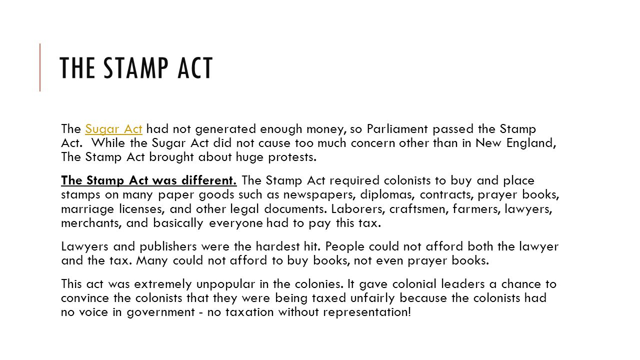 PROTESTING THE STAMP ACT As the uproar against the Stamp Act grew, colonial leaders created a special congress - a Stamp Act Congress.
