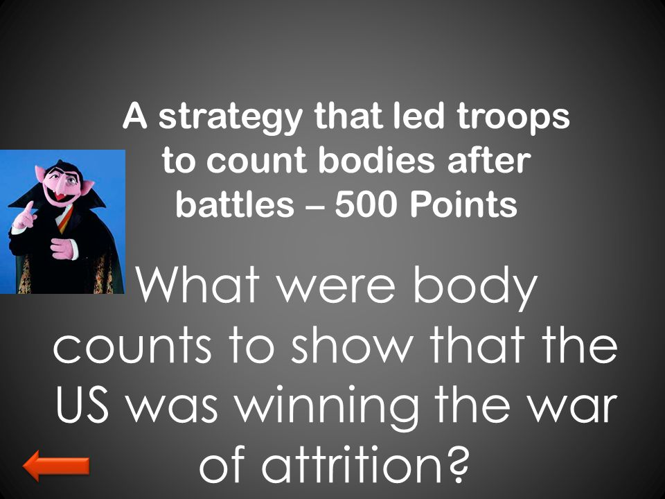 A strategy that led troops to count bodies after battles – 500 Points What were body counts to show that the US was winning the war of attrition?
