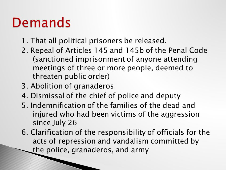 1. That all political prisoners be released. 2.