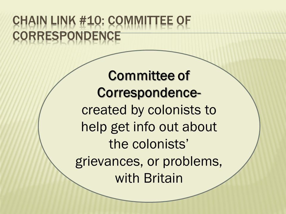 Committee of Correspondence- Committee of Correspondence- created by colonists to help get info out about the colonists' grievances, or problems, with Britain