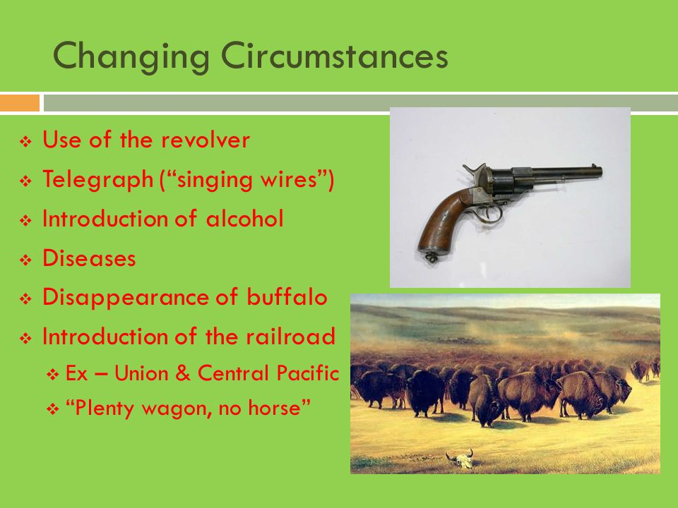 """Changing Circumstances  Use of the revolver  Telegraph (""""singing wires"""")  Introduction of alcohol  Diseases  Disappearance of buffalo  Introduct"""