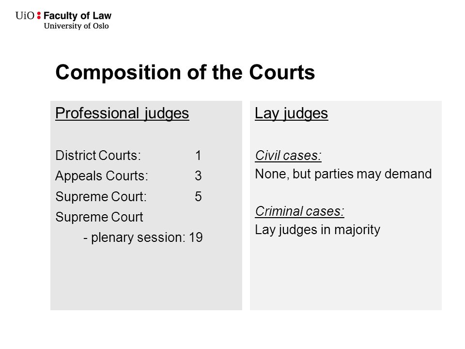 Composition of the Courts Professional judges District Courts: 1 Appeals Courts: 3 Supreme Court: 5 Supreme Court - plenary session: 19 Lay judges Civil cases: None, but parties may demand Criminal cases: Lay judges in majority