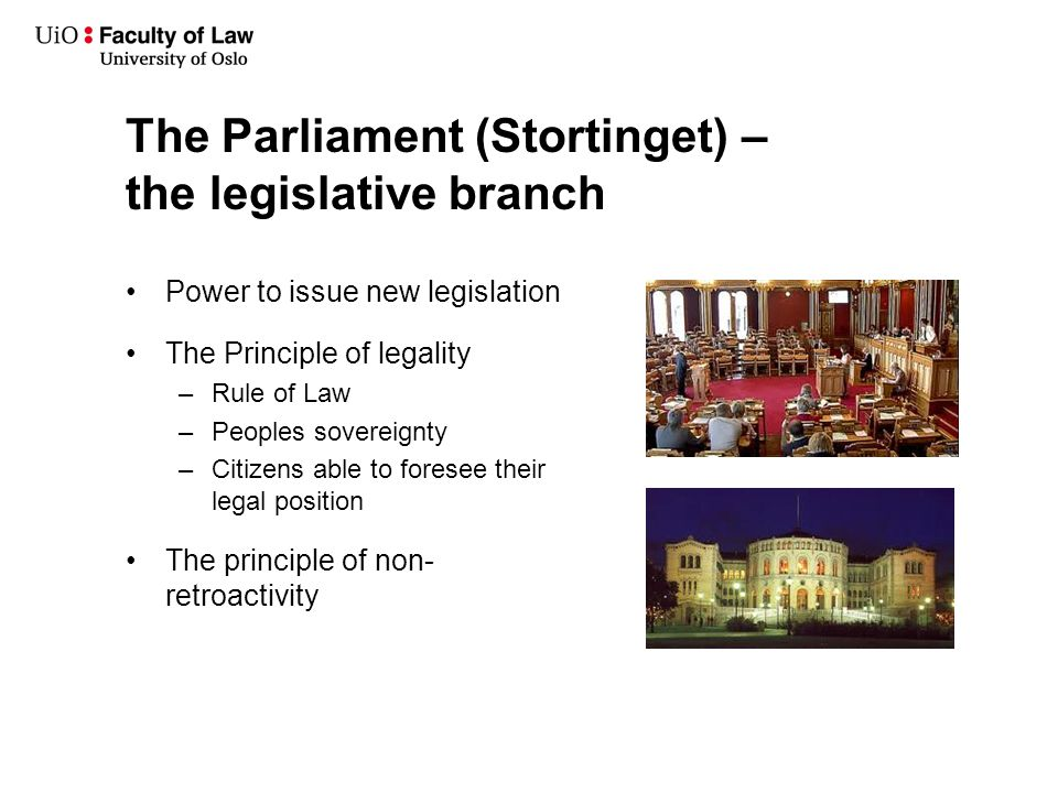 The Government – the executive branch Legislative process: Substantial influence on the legislative process ( lov ) Power to issue new directives ( forskrifter ) Executive power – enforcing legal order: Criminal cases Civil cases