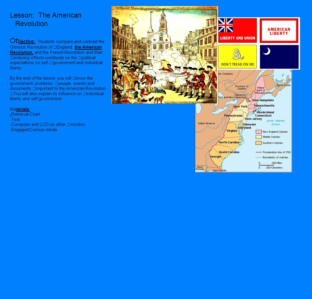 Lesson: The American Revolution Ob jective: Students compare and contrast the Glorious Revolution of England, the American Revolution, and the French