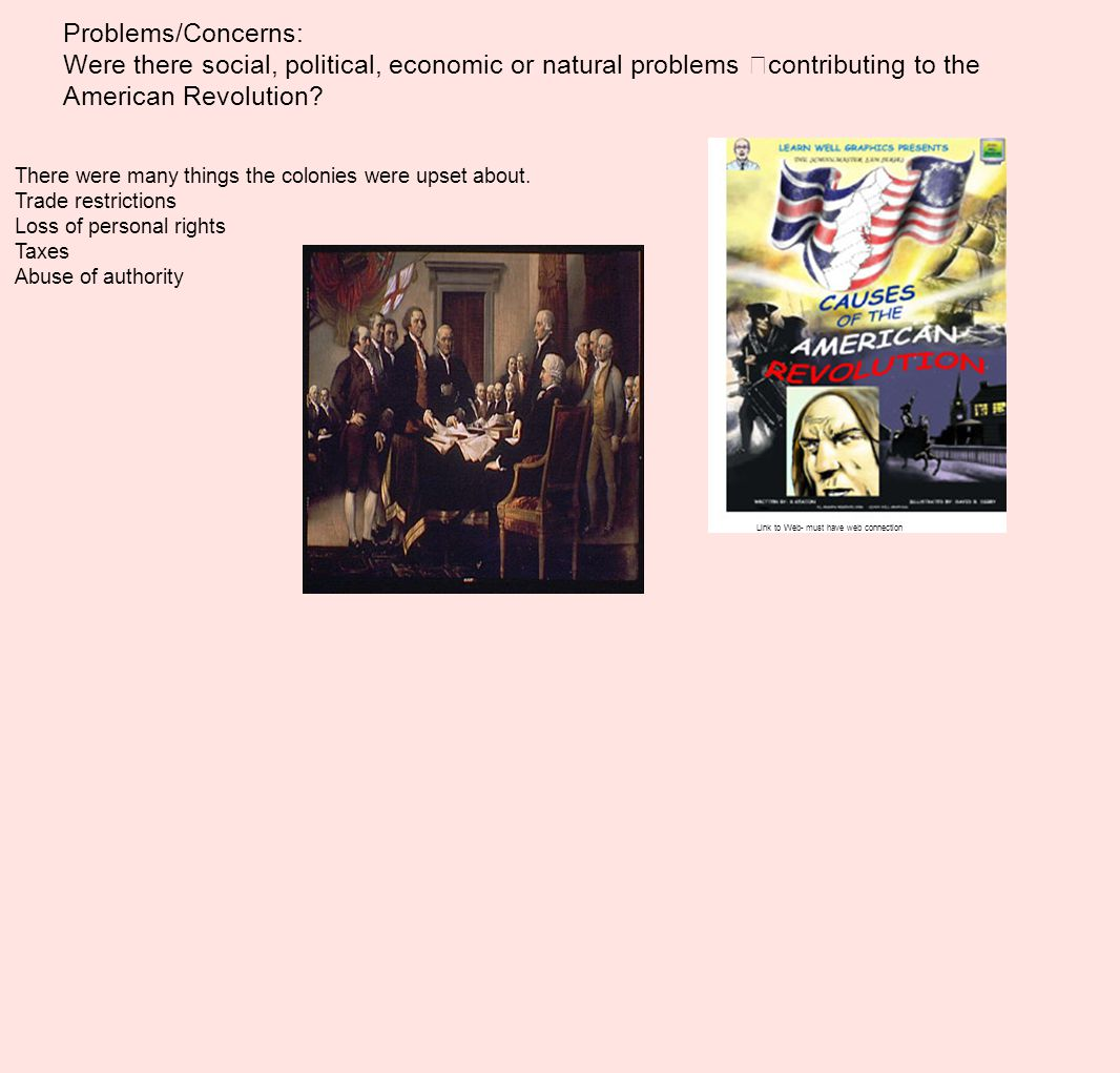 Problems/Concerns: Were there social, political, economic or natural problems contributing to the American Revolution? There were many things the colo