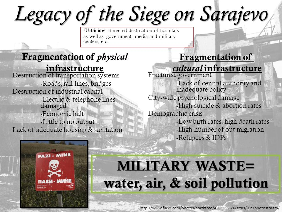 Legacy of the Siege on Sarajevo 'Urbicide' – targeted destruction of hospitals as well as government, media and military centers, etc.