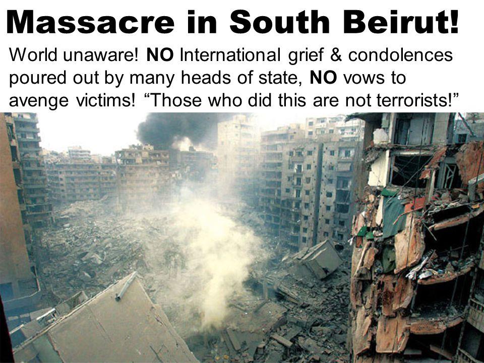 Beirut Heavily Bombed.Sneak rocket attacks by Israeli airforce Hundreds of Lebanese dead & dying.