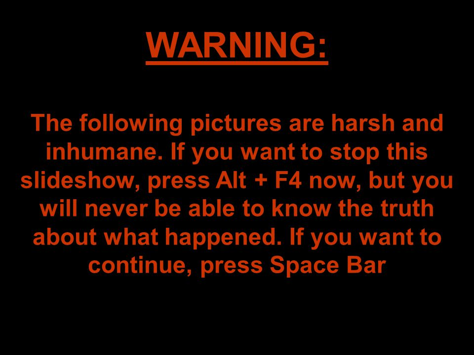 WARNING: The following pictures are harsh and inhumane.