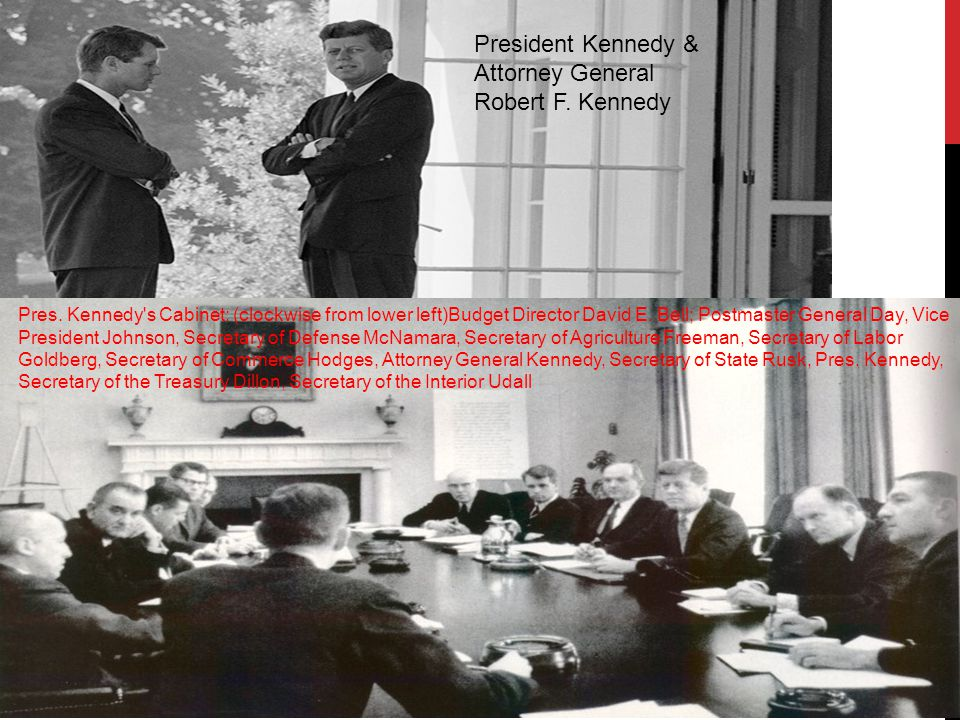 Pres. Kennedy s Cabinet: (clockwise from lower left)Budget Director David E.