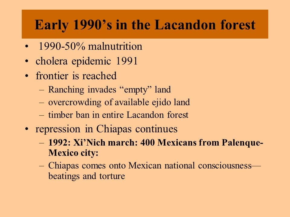 Early 1990's in the Lacandon forest 1990-50% malnutrition cholera epidemic 1991 frontier is reached –Ranching invades empty land –overcrowding of available ejido land –timber ban in entire Lacandon forest repression in Chiapas continues –1992: Xi'Nich march: 400 Mexicans from Palenque- Mexico city: –Chiapas comes onto Mexican national consciousness— beatings and torture