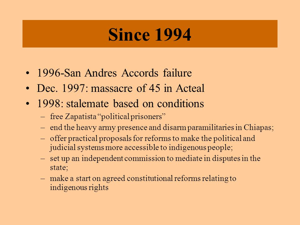 Since 1994 1996-San Andres Accords failure Dec.