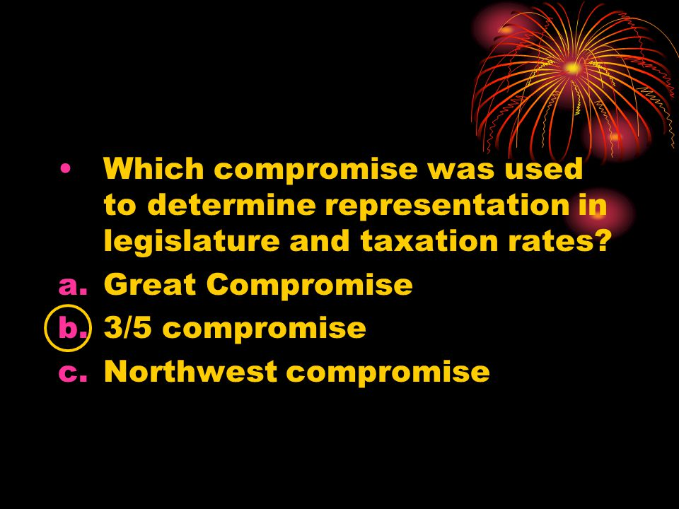 Which compromise was used to determine representation in legislature and taxation rates.