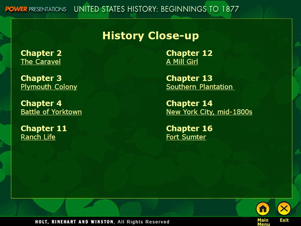History Close-up Chapter 2 The Caravel Chapter 3 Plymouth Colony Chapter 4 Battle of Yorktown Chapter 11 Ranch Life Chapter 12 A Mill Girl Chapter 13